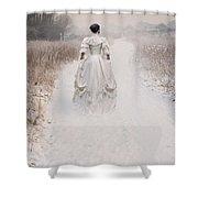 Victorian Woman Walking Through A Winter Meadow Shower Curtain