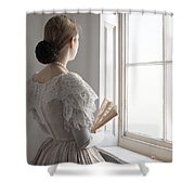 Victorian Woman With A Fan At The Window Shower Curtain
