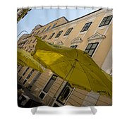Vienna Street Life - Cheery Yellow Umbrellas At An Outdoor Cafe Shower Curtain