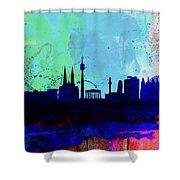 Vienna Watercolor Skyline Shower Curtain