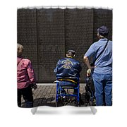 Vietnam Veterans Paying Respect To Fallen Soldiers At The Vietnam War Memorial Shower Curtain