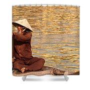 Vietnamese Boatman 01 Shower Curtain