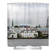 View Across The Tjornin Shower Curtain