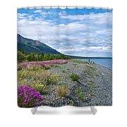 View Four Kluane Lake From Cottonwood Campground Near Destruction Bay-yk Shower Curtain
