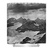 T-303501-bw-view From Quadra Mtn Looking Towards Ten Peaks Shower Curtain