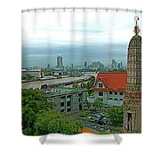 View From Temple Of The Dawn-wat Arun In Bangkok-thailand Shower Curtain