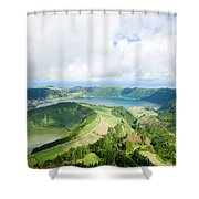 View From The Top Of Sete Cidades Shower Curtain