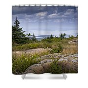 View From Top Of Cadilac Mountain In Acadia National Park Shower Curtain