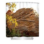 View From Zion-mount Carmel Highway In Zion Np-ut Shower Curtain