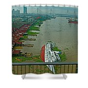 View Of A Ship On Its Side From A Bridge Near Bangkok-thailand Shower Curtain