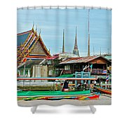 View Of A Temple From Waterway Of Bangkok-thailand Shower Curtain