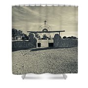 View Of Abandoned Church Gate Shower Curtain