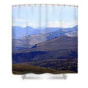 View Of Absaroka Mountains From Mount Washburn In Yellowstone National Park Shower Curtain