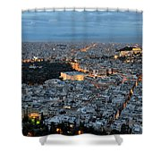 View Of Athens During Dawn Shower Curtain