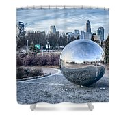 View Of Charlotte Nc Skyline From Midtown Park Shower Curtain