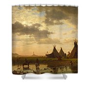 View Of Chimney Rock Ohalila .sioux Village In The Foreground Shower Curtain