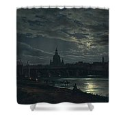 View Of Dresden By Moonlight Shower Curtain