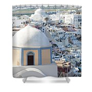 View Of Fira With Famous Church Santorini Greece Shower Curtain