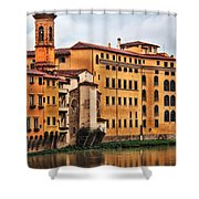 View Of Florence Along The Arno River Shower Curtain