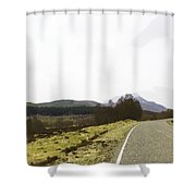 View Of Highway Running Through The Wilderness Of The Scottish Highlands Shower Curtain