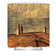 View Of Lake Como Over The Rooftop Of Villa Monastero Shower Curtain