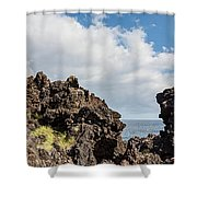View Of Lava Rock On The Coast, Pico Shower Curtain