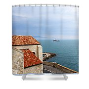 View Of Mediterranean In Antibes France Shower Curtain