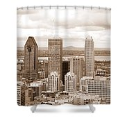 View Of Montreal In Sepia Shower Curtain