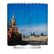 View Of Moscow Kremlin Towers And Red Square In Autumn Shower Curtain