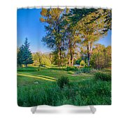 View Of Mt Gardner From Cottonwood Cottage Shower Curtain