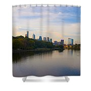 View Of Philadelphia From The Girard Avenue Bridge Shower Curtain