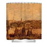View Of Pienza And The Tuscan Landscape Shower Curtain