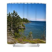 View Of Rock Harbor And Lake Superior Isle Royale National Park Shower Curtain by Jason O Watson