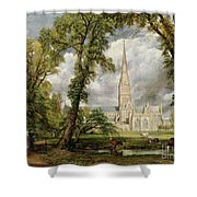 View Of Salisbury Cathedral From The Bishop's Grounds Shower Curtain