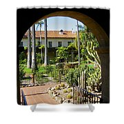 View Of Santa Barbara Mission Courtyard Shower Curtain