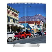 View Of Seward, Alaska Storefronts Shower Curtain