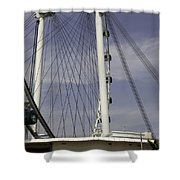 View Of Spokes Of The Singapore Flyer Along With The Base Section Shower Curtain