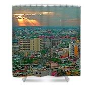 View Of Sun Setting Over Bangkok Buildings From Grand China Princess Hotel In Bangkok-thailand Shower Curtain