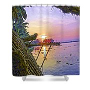View Of Sunrise From A Houseboat Shower Curtain