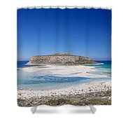 View Of The Balos Beach, Gramvousa Shower Curtain