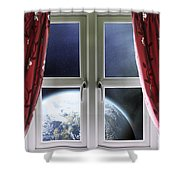 View Of The Earth Through A Window With Curtains Shower Curtain
