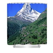 View Of The Matterhorn And The Town Shower Curtain