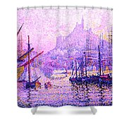 View Of The Port Of Marseilles Enhanced Color Iv Shower Curtain
