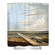View Of The Railway Across Chat Moss Shower Curtain