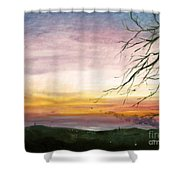 View Of The Valley At Dusk Shower Curtain