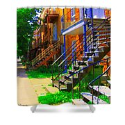 View Of Verdun Steps Stairs Staircases Winding Through Summer  Montrealstreet Scenes Carole Spandau Shower Curtain
