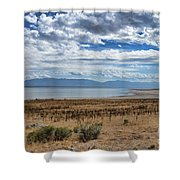 View Of Wasatch Range From Antelope Island Shower Curtain