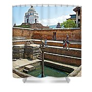 View Of White Temple From Pool Area Behind Bhaktapur Durbar Square In Bhaktapur-nepal - Shower Curtain