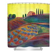 View On The Olive Grove Shower Curtain