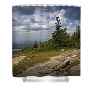 View On Top Of Cadilac Mountain In Acadia National Park Shower Curtain